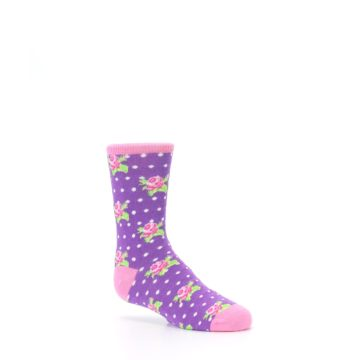 Image of Purple Pink Rosebud Flowers Kid's Dress Socks (side-1-26)