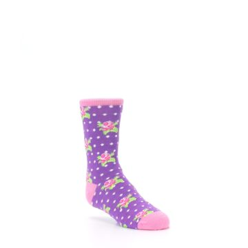 Image of Purple Pink Rosebud Flowers Kid's Dress Socks (side-1-27)