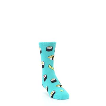 Image of Teal Sushi Kid's Dress Socks (side-1-front-02)