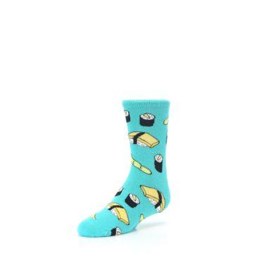 Image of Teal Sushi Kid's Dress Socks (side-2-front-08)