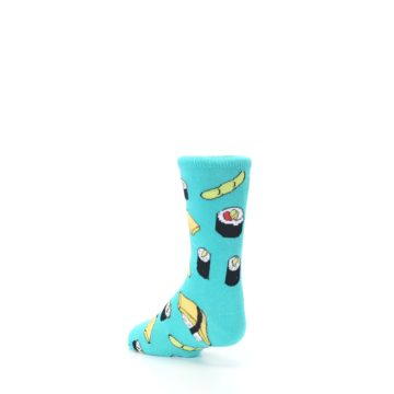 Image of Teal Sushi Kid's Dress Socks (side-2-back-15)