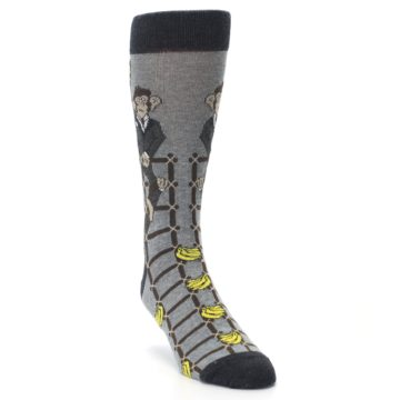 Image of Gray Monkey Business Corporate Ladder Men's Dress Socks (side-1-front-02)