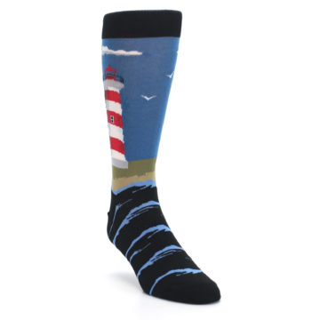 Image of Blue Red White Lighthouse Men's Dress Socks (side-1-front-02)