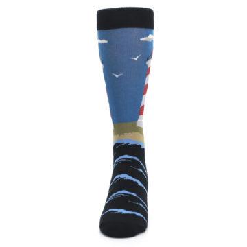 Image of Blue Red White Lighthouse Men's Dress Socks (front-05)