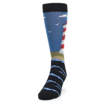 Image of Blue Red White Lighthouse Men's Dress Socks (side-2-front-06)