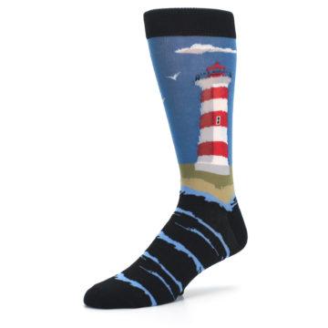 Image of Blue Red White Lighthouse Men's Dress Socks (side-2-09)