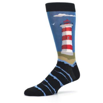 Image of Blue Red White Lighthouse Men's Dress Socks (side-2-10)