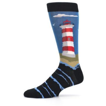 Image of Blue Red White Lighthouse Men's Dress Socks (side-2-11)