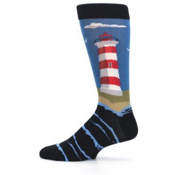 Image of Blue Red White Lighthouse Men's Dress Socks (side-2-12)
