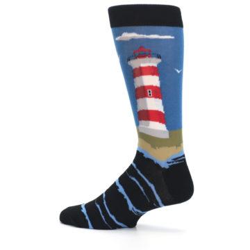 Image of Blue Red White Lighthouse Men's Dress Socks (side-2-13)