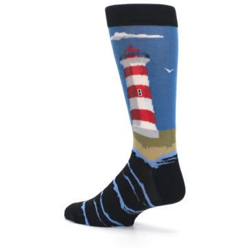 Image of Blue Red White Lighthouse Men's Dress Socks (side-2-back-14)