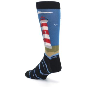Image of Blue Red White Lighthouse Men's Dress Socks (side-2-back-15)