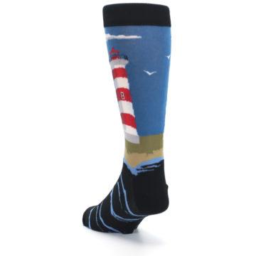 Image of Blue Red White Lighthouse Men's Dress Socks (side-2-back-16)