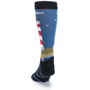 Image of Blue Red White Lighthouse Men's Dress Socks (back-17)