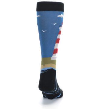 Image of Blue Red White Lighthouse Men's Dress Socks (back-19)