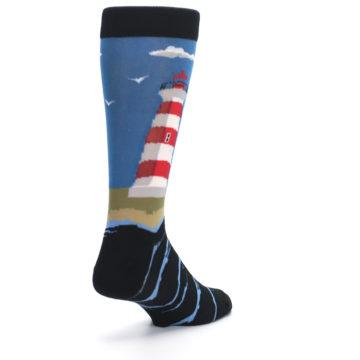 Image of Blue Red White Lighthouse Men's Dress Socks (side-1-back-21)