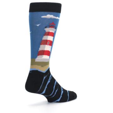 Image of Blue Red White Lighthouse Men's Dress Socks (side-1-back-22)