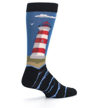 Image of Blue Red White Lighthouse Men's Dress Socks (side-1-23)