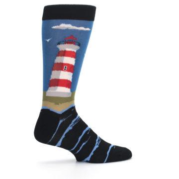 Image of Blue Red White Lighthouse Men's Dress Socks (side-1-24)