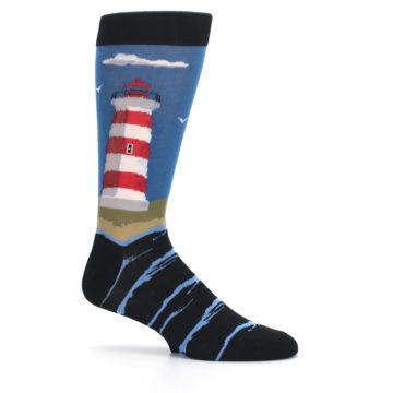 Image of Blue Red White Lighthouse Men's Dress Socks (side-1-25)
