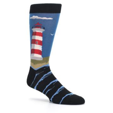 Image of Blue Red White Lighthouse Men's Dress Socks (side-1-26)