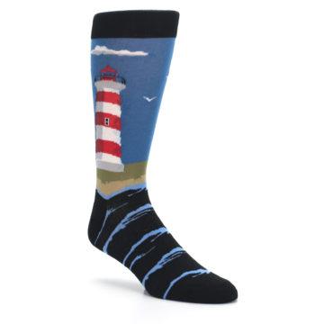 Image of Blue Red White Lighthouse Men's Dress Socks (side-1-27)