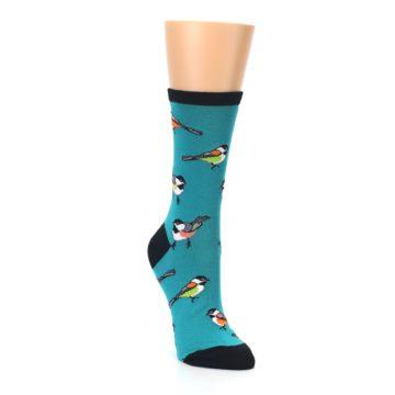 Image of Lagoon Blue Chickadee Bird Women's Dress Socks (side-1-front-02)