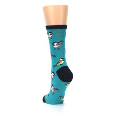 Image of Lagoon Blue Chickadee Bird Women's Dress Socks (side-2-back-16)