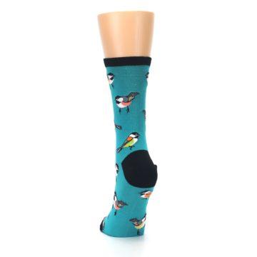 Image of Lagoon Blue Chickadee Bird Women's Dress Socks (back-17)