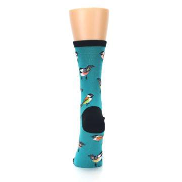 Image of Lagoon Blue Chickadee Bird Women's Dress Socks (back-18)