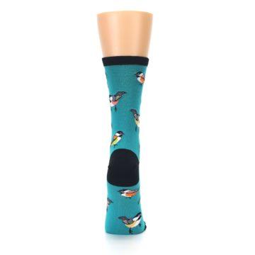 Image of Lagoon Blue Chickadee Bird Women's Dress Socks (back-19)