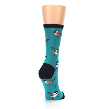 Image of Lagoon Blue Chickadee Bird Women's Dress Socks (side-1-back-21)