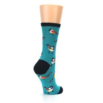 Image of Lagoon Blue Chickadee Bird Women's Dress Socks (side-1-back-22)