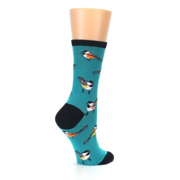 Image of Lagoon Blue Chickadee Bird Women's Dress Socks (side-1-23)