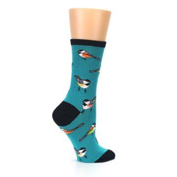 Image of Lagoon Blue Chickadee Bird Women's Dress Socks (side-1-24)