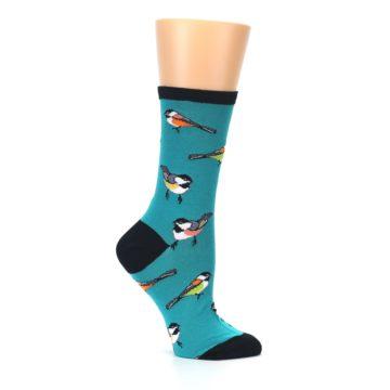 Image of Lagoon Blue Chickadee Bird Women's Dress Socks (side-1-25)