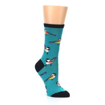 Image of Lagoon Blue Chickadee Bird Women's Dress Socks (side-1-27)