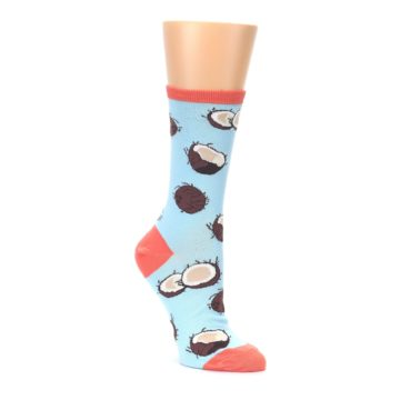 Image of Light Blue Brown Coconuts Women's Dress Socks (side-1-front-01)