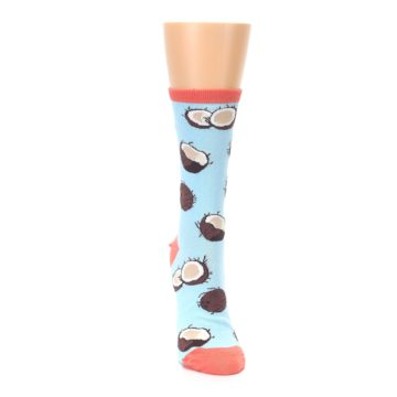 Image of Light Blue Brown Coconuts Women's Dress Socks (front-04)