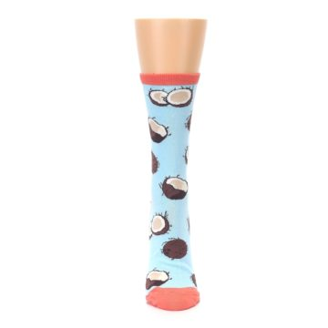Image of Light Blue Brown Coconuts Women's Dress Socks (front-05)