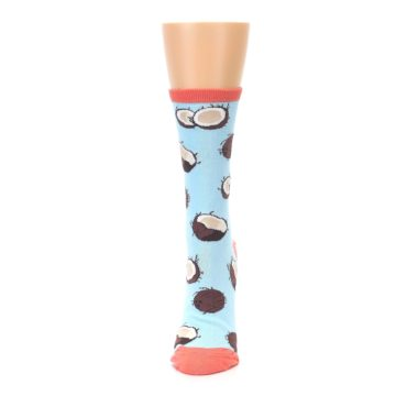 Image of Light Blue Brown Coconuts Women's Dress Socks (side-2-front-06)