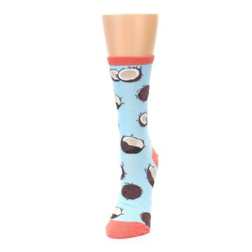 Image of Light Blue Brown Coconuts Women's Dress Socks (side-2-front-07)