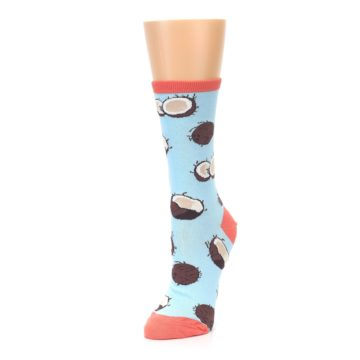 Image of Light Blue Brown Coconuts Women's Dress Socks (side-2-front-08)