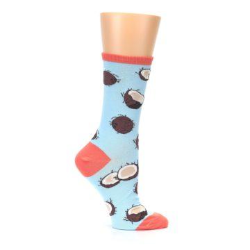 Image of Light Blue Brown Coconuts Women's Dress Socks (side-1-25)