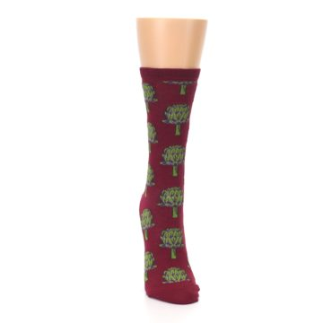 Image of Burgundy Green Artichokes Women's Dress Socks (front-04)