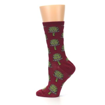 Image of Burgundy Green Artichokes Women's Dress Socks (side-2-13)