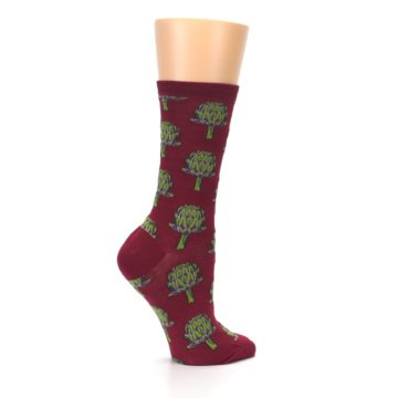 Image of Burgundy Green Artichokes Women's Dress Socks (side-1-24)