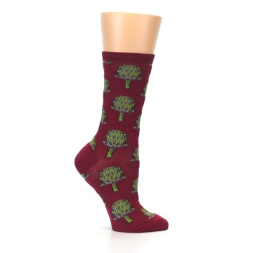 Image of Burgundy Green Artichokes Women's Dress Socks (side-1-25)