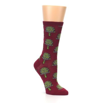 Image of Burgundy Green Artichokes Women's Dress Socks (side-1-27)