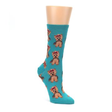 brown yorkie teal women's novelty dress socks